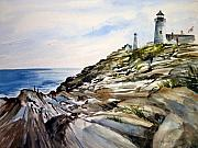 Pemaquid Lighthouse Painting Framed Prints - From the Rocks Below Framed Print by Lois Mountz