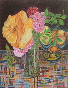 Vase Pastels Prints - From the Rose Bed Print by Jim Barber Hove