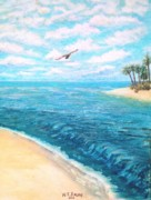 Seagull Pastels Framed Prints - From the Shore Framed Print by Travis  Ragan