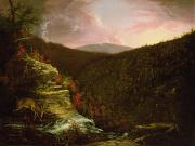 Red Sky Paintings - From the Top of Kaaterskill Falls by Thomas Cole