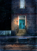 Brick Building Art - Front Entrance to a Brick Home at Night by Jill Battaglia