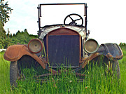 Rusted Cars Framed Prints - Front Grill of Old Ford Framed Print by Randy Harris