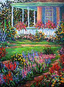 Gladiolas Painting Prints - Front Porch and Flower Gardens Print by Glenna McRae