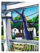Chair Mixed Media Framed Prints - Front Porch Framed Print by Baird Hoffmire