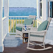 Wine Oil Prints - Front Porch Print by Christopher Mize