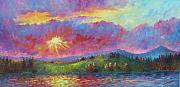 Mountain Range Paintings - Front Range Sunset by David G Paul