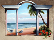 Beach Window Painting Framed Prints - Front Row View Framed Print by Michele Snell
