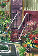 Entrance Door Painting Framed Prints - Front Steps Framed Print by Donald Maier