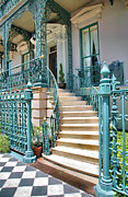 Ironwork Posters - Front Steps To John Rutledge Home Poster by Steven Ainsworth