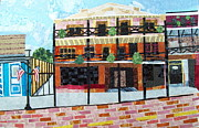 City Scape Tapestries - Textiles Metal Prints - Front Street- My Favorite Block Metal Print by Charlene White
