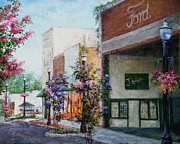 Hanging Baskets Paintings - Front Street by Virginia Potter