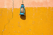 Y120817 Art - Front View Of A Blue Gas Lamp Hanging On A Colourful Wall, Al Hamra, United Arab Emirates by Mohamed El Hebeishy