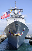 Boats In The Harbor Prints - Front View Of Guided-missile Cruiser Print by Stocktrek Images