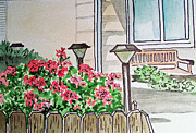 Lamps Paintings - Front Yard Lights Sketchbook Project Down My Street by Irina Sztukowski