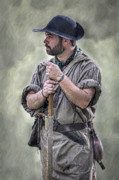 Citizen Digital Art Prints - Frontiersman Ranger Scout Portrait Print by Randy Steele