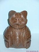 Cats Ceramics - Frontview of  M 73   Garfield  2005 by Marjolaine ESCHER