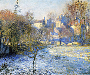 Snowy Trees Posters - Frost Poster by Claude Monet