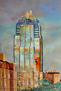 Austin Skyline Painting Originals - Frost Twilight by Vicki Brevell
