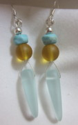 Organic Jewelry - Frosted Turquoise and Amber Earrings by Janet  Telander