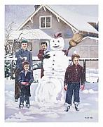 Snow Man Posters - Frosty in Fifty Poster by Mike Hill