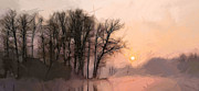 Fog Mist Paintings - Frosty morning at the lake by Stefan Kuhn