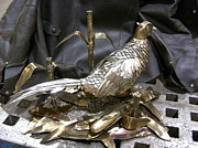 Brass Sculptures - Frosty Morning Ringneck by Peter Andrus
