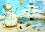 Snowscape Drawings Prints - Frosty the Snow Man Print by Mindy Newman