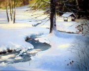 Sudbury Pastels Framed Prints - Frozen Brook Framed Print by Jeanne Rosier Smith