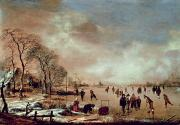 Winter Scenes Rural Scenes Painting Prints - Frozen Canal Scene  Print by Aert van der Neer