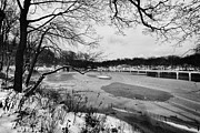 Mono Framed Prints - Frozen Central Park at Dusk Framed Print by John Farnan