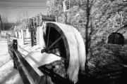 Historic Site Prints - Frozen Gristmill Wheel Print by George Oze
