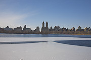 Crisp Prints - Frozen Ice On Jacqueline Onassis Reservoir In Central Park, Looking West From Upper East Side, New York, Ny, Usa Print by Barry Winiker