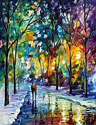 City Park Painting Originals - Frozen Night by Leonid Afremov