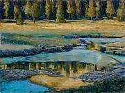 Colorado Trees Pastels Prints - Frozen Reflections Print by Billie Colson