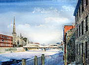 Cambridge Painting Prints - Frozen Shadows On The Grand Print by Hanne Lore Koehler
