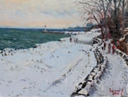 Ontario Paintings - Frozen Shore in Oakville ON by Ylli Haruni