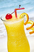 Alcoholic Photos - Frozen tropical orange drink by Elena Elisseeva