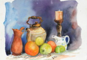 Pitchers Painting Metal Prints - Fruit And  Pitchers Metal Print by Bobby Walters