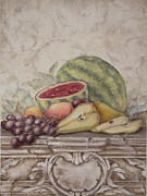 Fruit And Scroll With Watermelon Print by Rita   Broughton