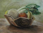 Wooden Bowls Prints - Fruit and Veggie Bowl Print by Elizabeth  Ellis