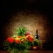 Wine Bottle Digital Art - Fruit and Wine by Lourry Legarde