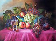 Fruit And Wine Originals - Fruit and wine on mauve cloth by Joni McPherson