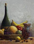 Wine Bottle Paintings - Fruit Basket by Harvie Brown