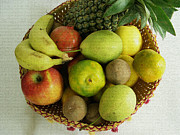 Food And Beverage Mixed Media Posters - Fruit Basket Poster by Sudarshan Vijayaraghavan