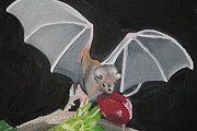 Vampire Bat Paintings - Fruit Bat by Terry Lewey