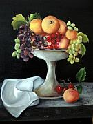 Peaches Art - Fruit Bowl by Carol Sweetwood