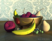 Pears Digital Art Originals - Fruit Bowl with Bananas by Bill Skieczius