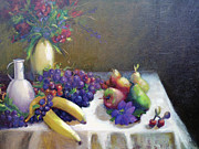 Flowers ..tags: Flowers Paintings - Fruit family by Rosalia  Tignini Verdun