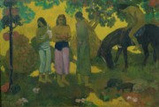 Islander Framed Prints - Fruit Gathering Framed Print by Paul Gauguin