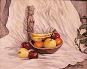 Wooden Bowl Paintings - Fruit Godess by Carrie Auwaerter
